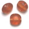 Glass Beads 13mm Round Flat Topaz Matt With Swirl